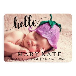 HELLO MODERN BIRTH ANNOUNCEMENT PHOTOCARD BLACK