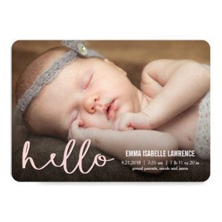 HELLO Modern Birth Announcements PINK