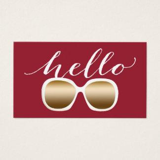 Hello Modern Sunglasses Plain Red Business Card