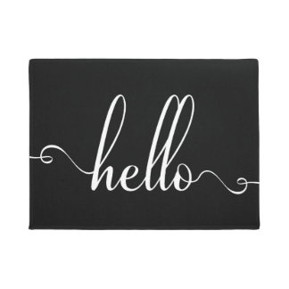 Hello Modern Typography White and Black Doormat
