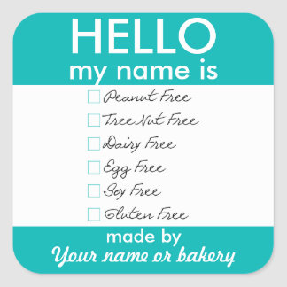Hello My Name Is Allergy Free Baking Bake Sale Square Sticker