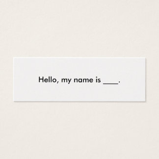 Hello, my name is business card
