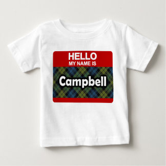 Hello My Name is Campbell Scottish Tartan Baby T-Shirt