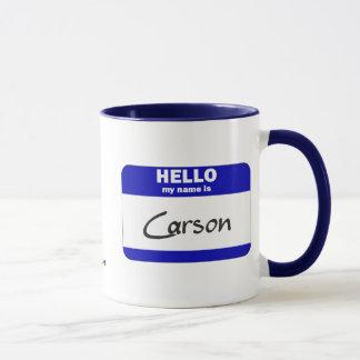 Hello My Name Is Carson (Blue) Mug