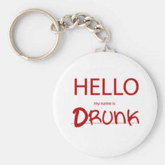 HELLO MY NAME IS DRUNK BASIC ROUND BUTTON KEYCHAIN