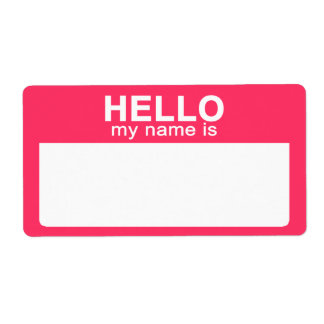 Hello My Name is, Hot Pink Name Tag Labels