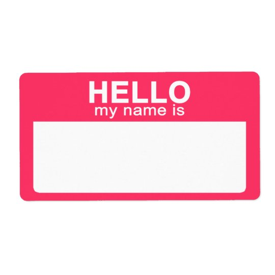 hello my name is  hot pink name tag labels