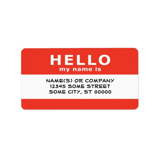 hello my name is : label