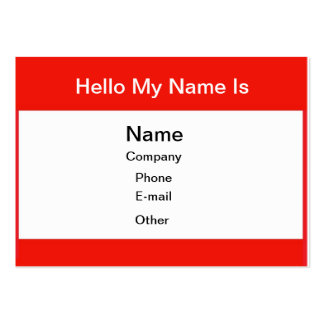 Hello my name is large business card