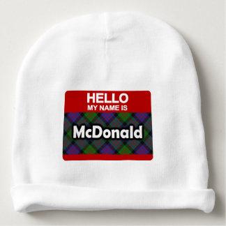 Hello My Name is McDonald Scottish Clan Tartan Baby Beanie