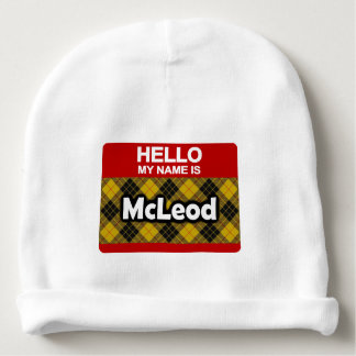 Hello My Name is McLeod Scottish Clan Tartan Baby Beanie