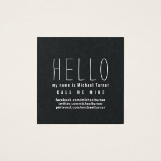 HELLO! My Name is.. Minimal Black Square Business Card