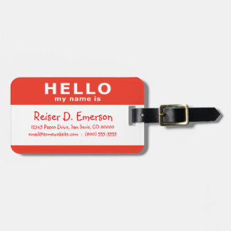 hello my name is : red luggage tag