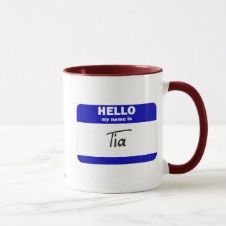 Hello My Name Is Tia (Blue) Mug