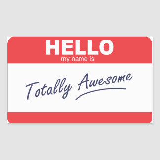 Hello my name is totally awesome nametag. sticker