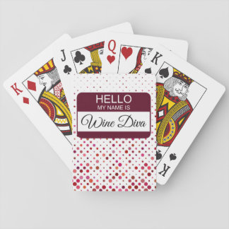 Hello My Name is Wine Diva Name Badge Polka Dot Playing Cards