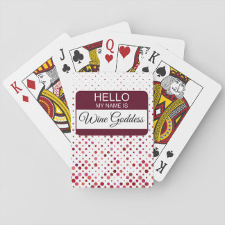 Hello My Name is Wine Goddess Name Badge Polka Dot Playing Cards