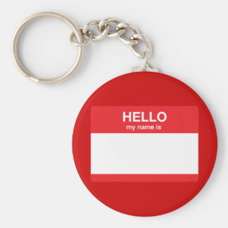 Hello, my name is (your text) basic round button keychain