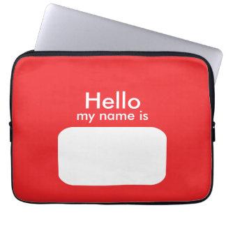 Hello Name Red White Laptop Sleeve