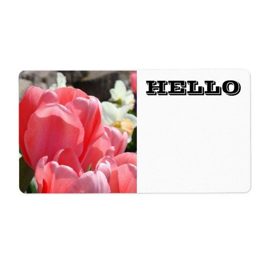 HELLO Name Tags Labels Pink Tulip Flowers