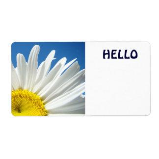 Hello Name Tags White Daisy Flowers Custom