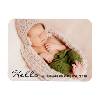 Hello New Baby Announcement Photo Magnet
