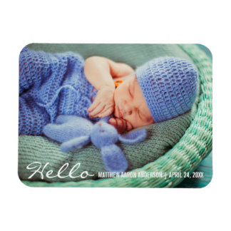 Hello New Baby Announcement Photo Magnet W