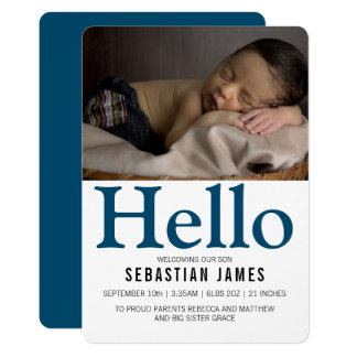 Hello New Baby Blue Personalized Card