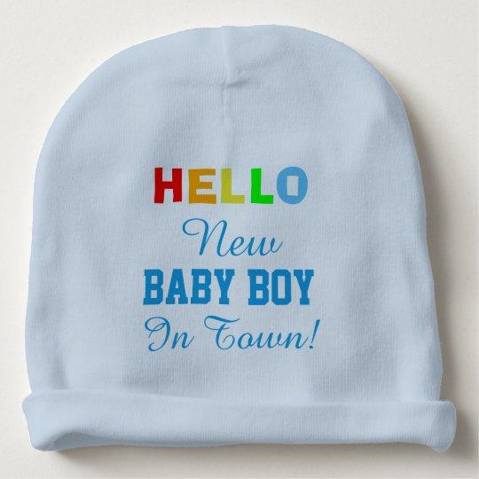 Hello New Baby Boy in Town Baby Hat Baby Beanie