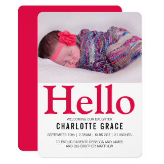 Hello New Baby Bright Pink Personalized Card