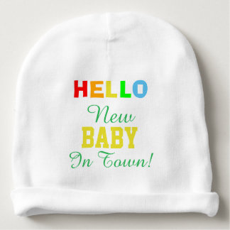 Hello New Baby in Town Baby Hat Baby Beanie