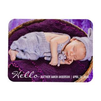Hello New Baby Photo Announcement Rectangular Photo Magnet