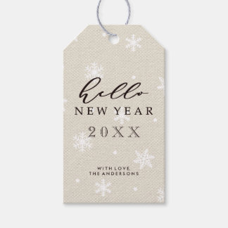 Hello New Year Rustic Faux Burlap Texture Holiday Gift Tags