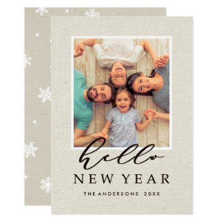 Hello New Year Rustic Faux Burlap Texture Photo Card