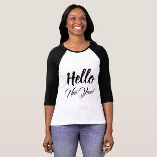 Hello New Year Typography Black White Custom Text T-Shirt