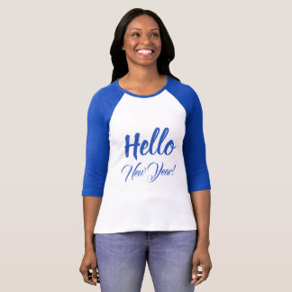 Hello New Year Typography Blue Custom Text T-Shirt