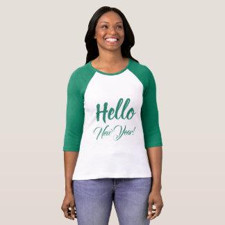 Hello New Year Typography Green Custom Text T-Shirt