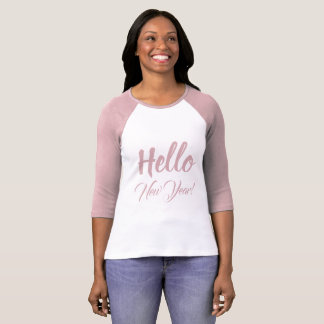 Hello New Year Typography Pink Custom Text T-Shirt