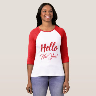 Hello New Year Typography Red Custom Text T-Shirt