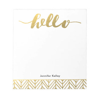 Hello Notepad in Gold, Personalized