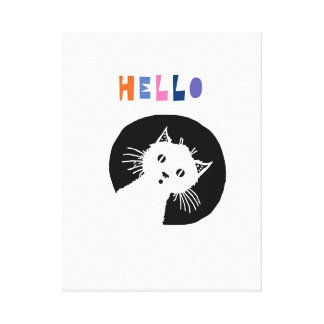 Hello, nursery art, cat nursery canvas print