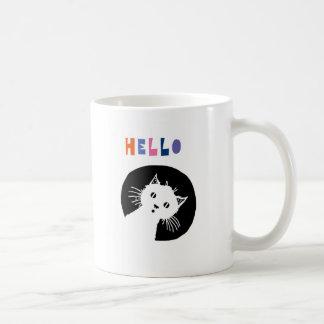 Hello, nursery mug, cat nursery coffee mug
