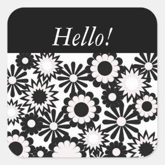 """""""Hello"""" on a white and black floral design. Square Sticker"""
