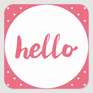 Hello on pastel pink polka dots background square sticker