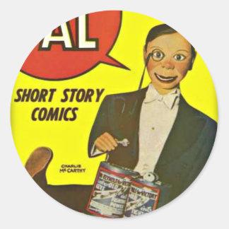 Hello Pal #2 Charlie McCarthy Cover Art Round Sticker