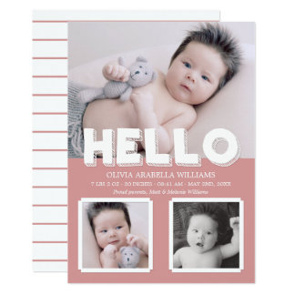 Hello Pink Baby Announcement Photo Collage