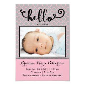 hello pink photo - 3x5 Birth Announcement