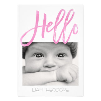 Hello Pink Watercolor 3-Photo | Birth Announcement