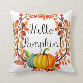 """Hello Pumpkin!"" Autumn Wreath Throw Pillow"