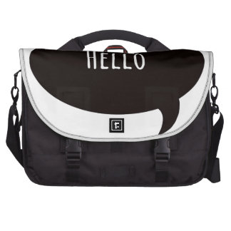 Hello quote in speech bubble bag for laptop